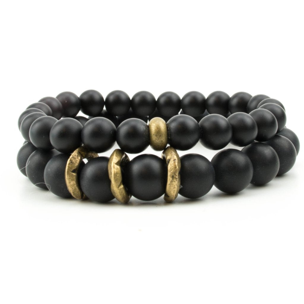 men's stretch beaded bracelet stack with black onyx worn by celebrity Harry Connick Jr.