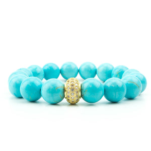 Pave  Smooth Turquoise Bracelet