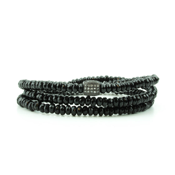 Black Onyx Triple Wrap Bracelet