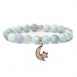 The Moon & Stars Charm in Blue Bead with Gold