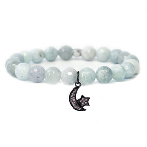 The Moon & Stars Charm in Blue Bead with Silver