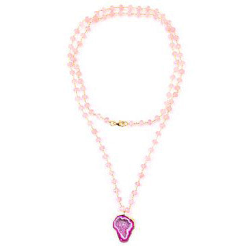 The Sienna Necklace in Rose Quartz