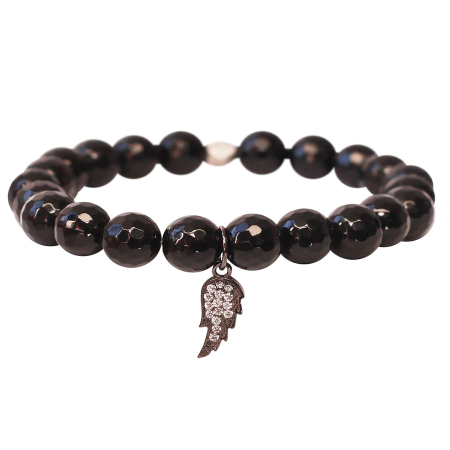 The Guardian Angel Charm in Black Bead and Silver