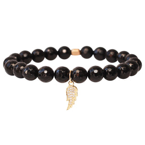 The Guardian Angel Charm in Black Bead and Gold