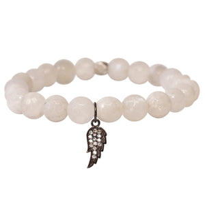 The Guardian Angel Charm in White Bead and Silver