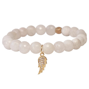 The Guardian Angel Charm in White Bead and Gold