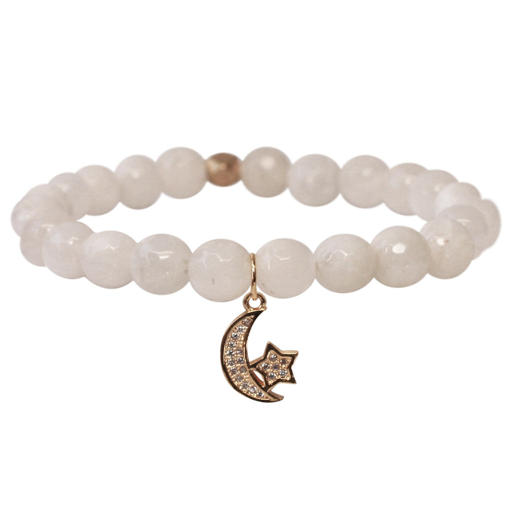 The Moon & Stars Charm in White Bead with Gold Charm