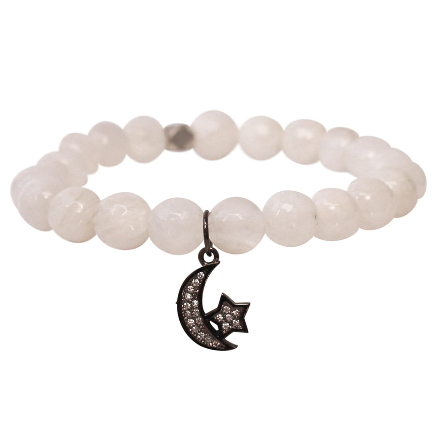 The Moon & Stars Charm in White Bead with Silver Charm