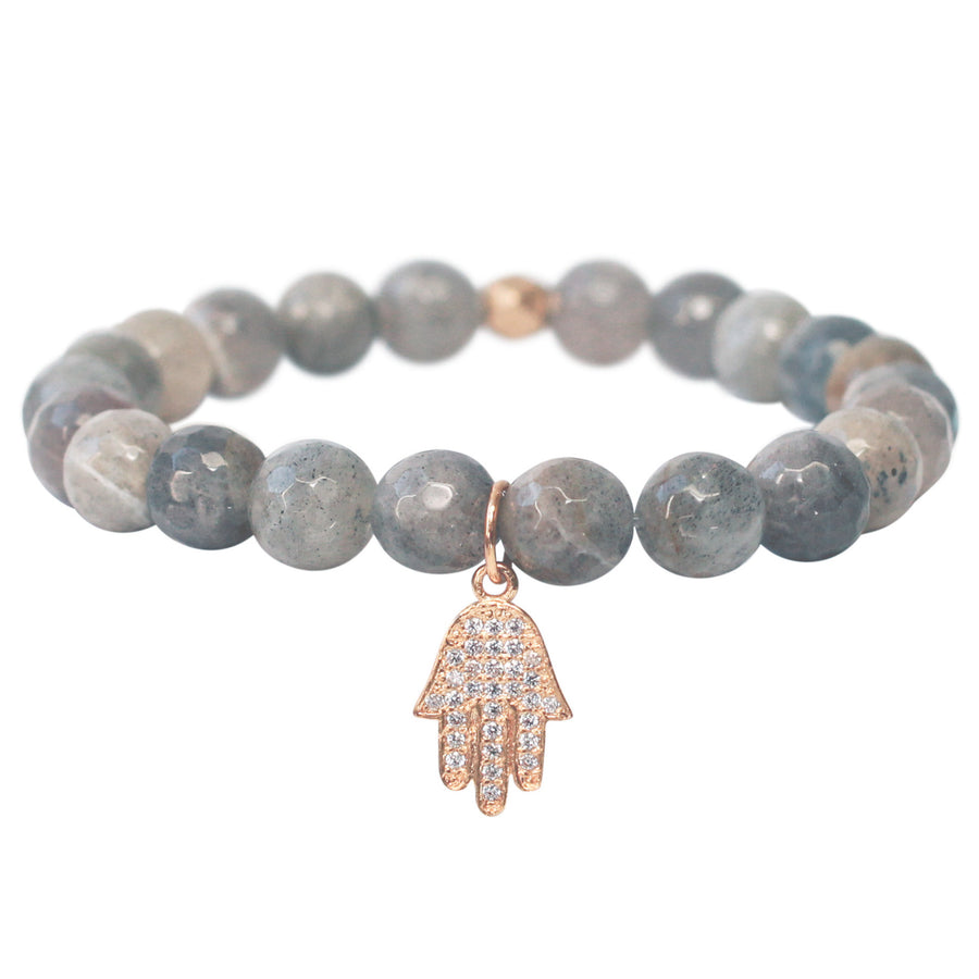 The Hamsa Charm in Pale Grey Bead with Gold