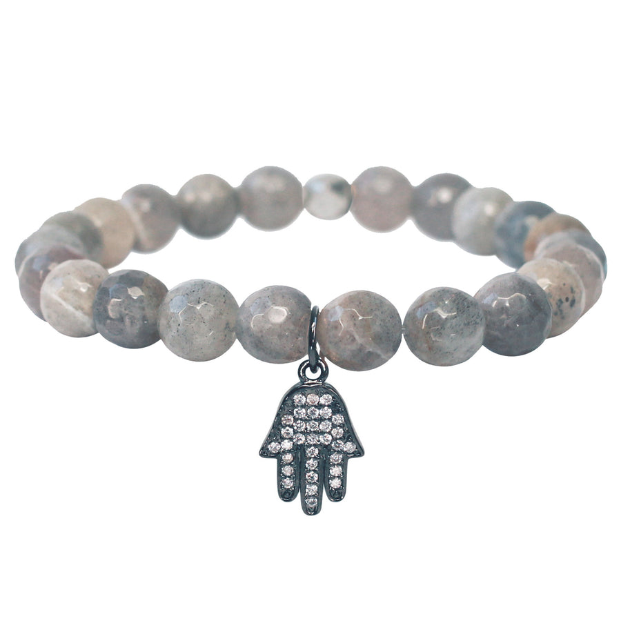 The Hamsa Charm in Pale Grey Bead with Silver