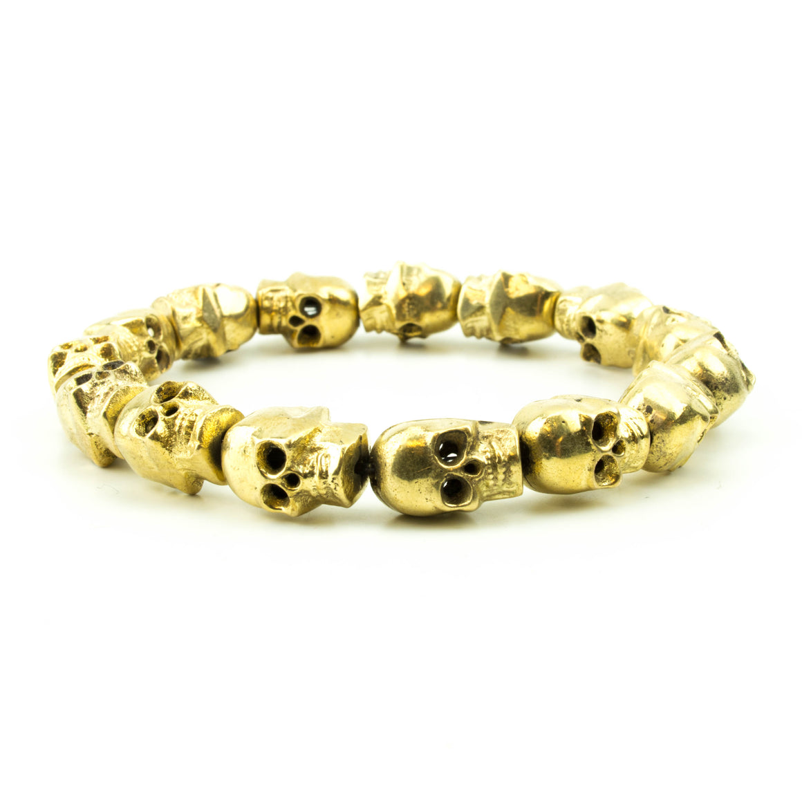 men's stretch beaded bracelet brass skulls