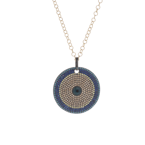 The Circle Medallion Necklace in Blue