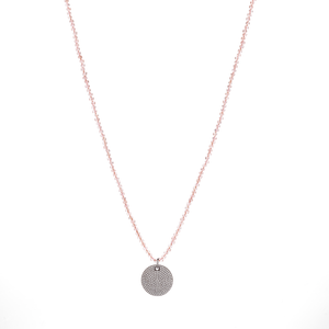The Circle Medallion Necklace in Pink