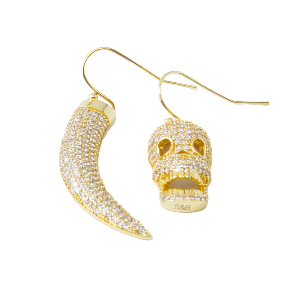 Horn & Skull Earrings in Gold