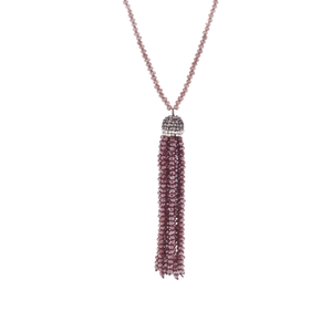 Raspberry Tassel Necklace
