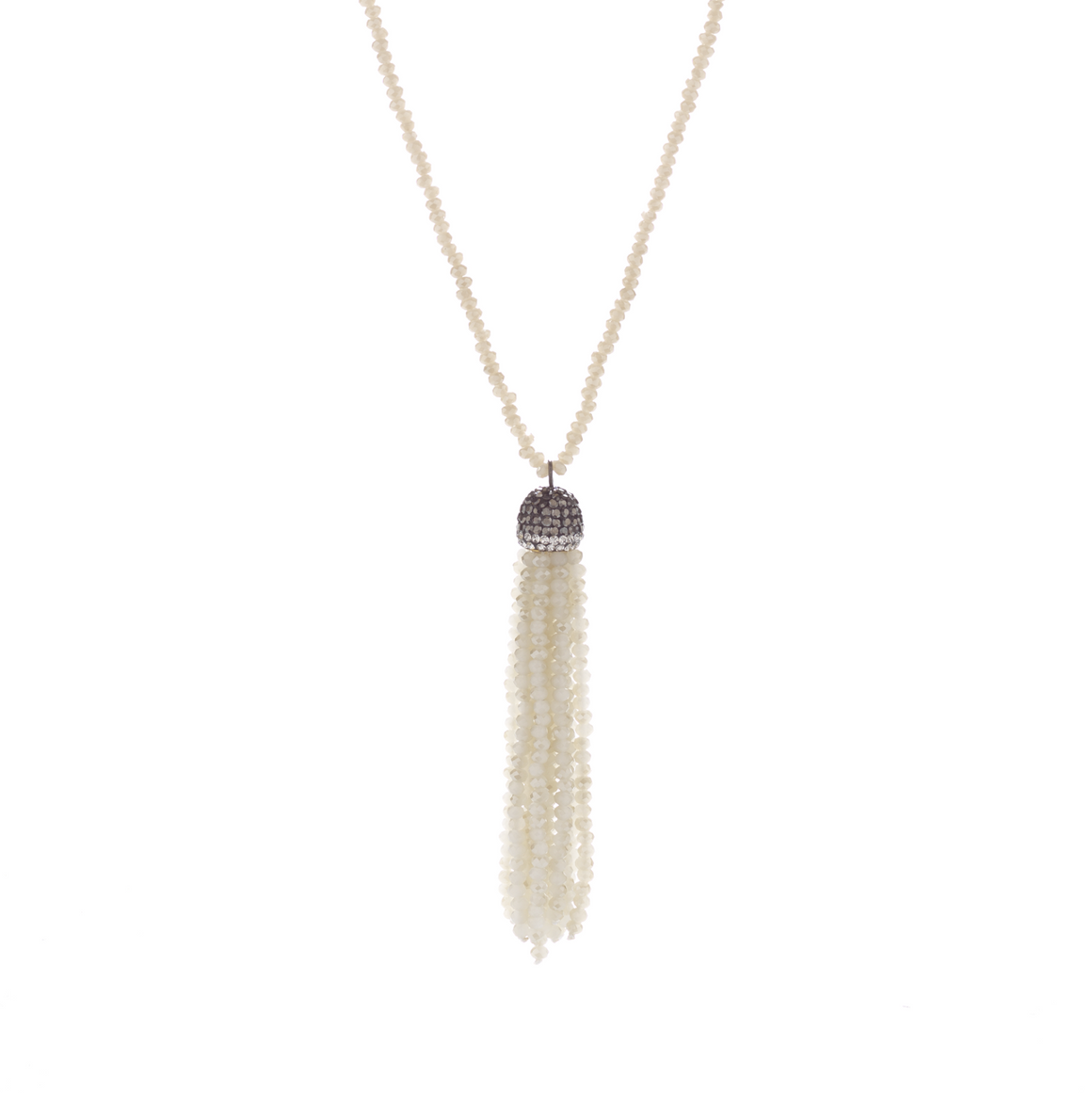 Iridescent Neutral Tassel Necklace
