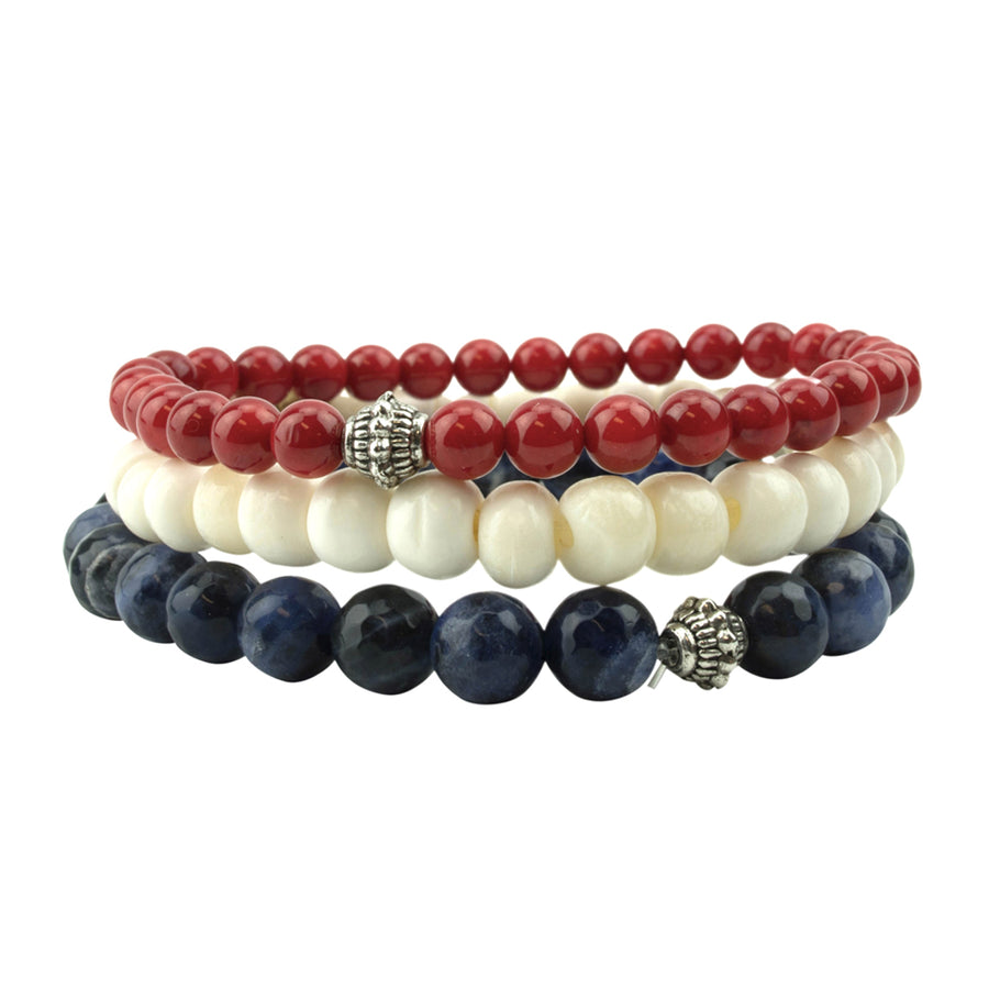 men's stretch beaded bracelet stack with white bone, red coral and black onyx