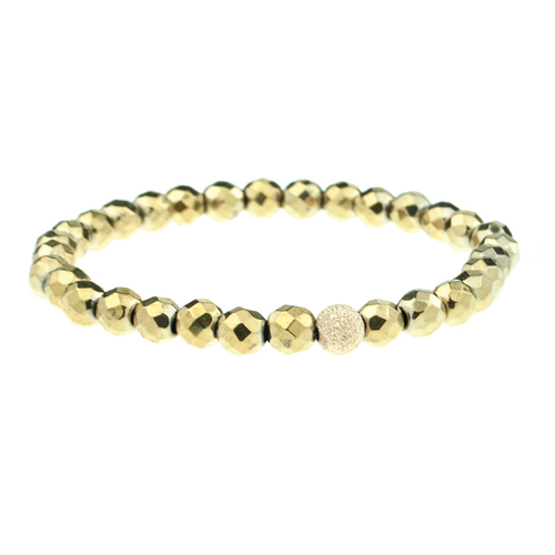 Small Hematite Faceted Round in Gold