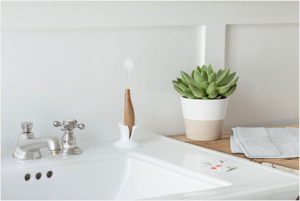 Radius toothbrush on top of the sink