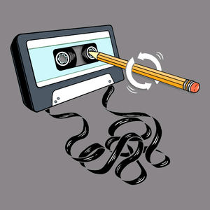 Funny 80s tee with retro music cassette tape and pencil.