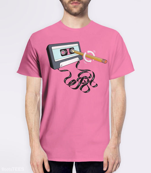 Funny 80s tee with retro music cassette tape and pencil. Pictured: Pink Mens Tee.