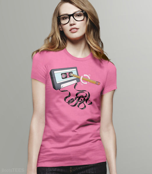 Funny 80s tee with retro music cassette tape and pencil. Pictured: Pink Womens Tee.