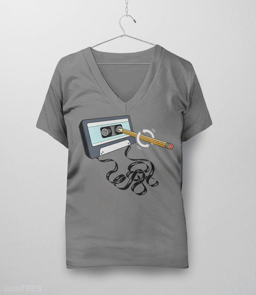 Funny 80s tee with retro music cassette tape and pencil. Pictured: Grey Womens V-Neck.