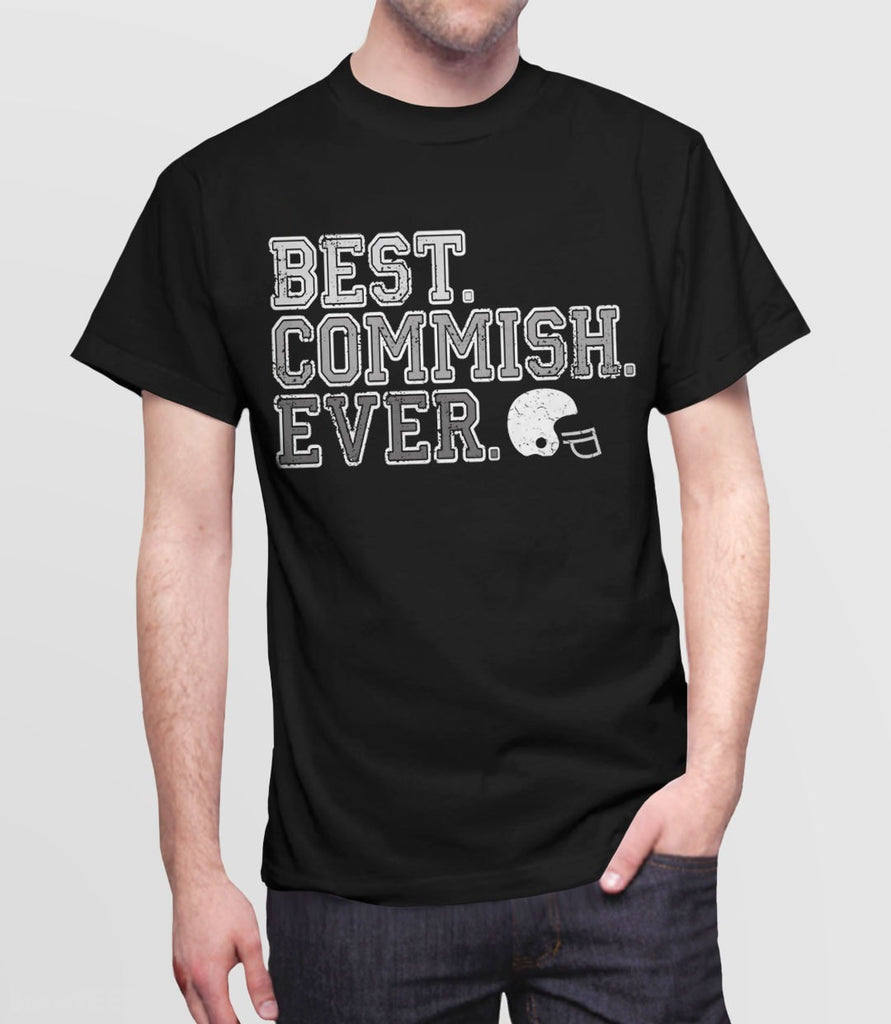 Best Commish Ever Fantasy Football Commissioner Gift T-Shirt. Pictured: Black Mens Tee Shirt