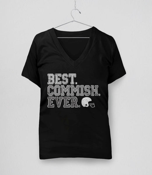 Best Commish Ever, Black Womens V-Neck by BootsTees