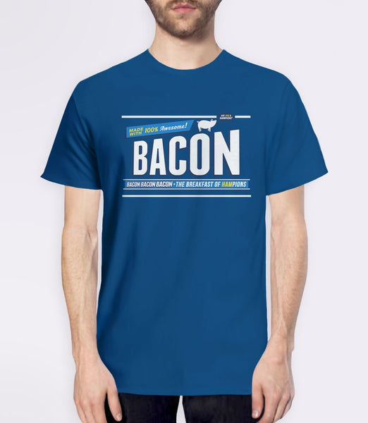 Breakfast of Hampions | funny gift for bacon lover t-shirt - mens blue