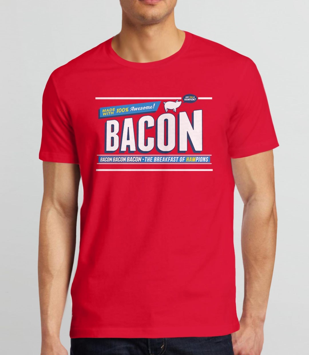 Breakfast of Hampions | funny gift for bacon lover t-shirt - mens