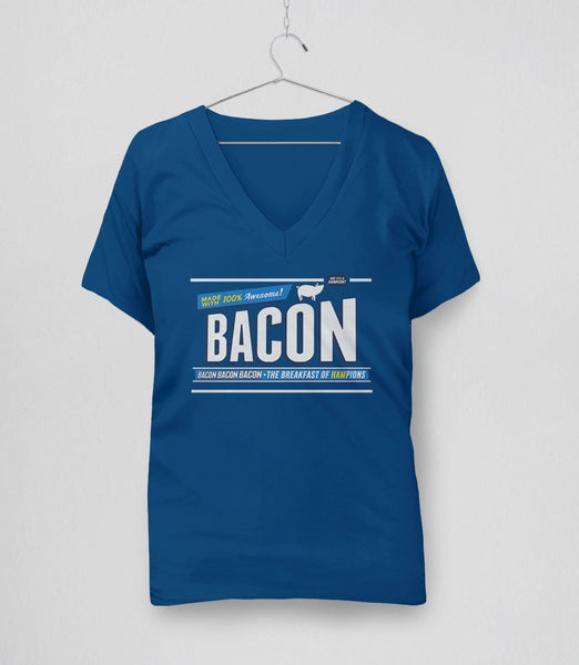 Breakfast of Hampions | funny gift for bacon lover t-shirt - blue v-neck