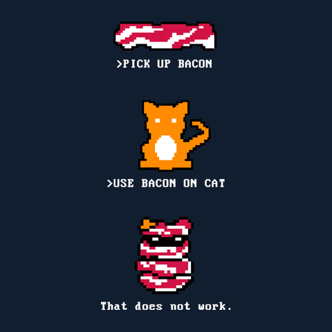 Breakfast Quest | Retro Gaming video game t-shirt with 8-bit cat and bacon