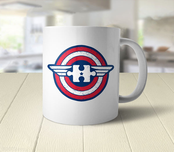 Captain Autism Awareness Mug | superhero coffee mug - back