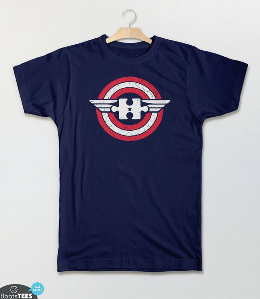 Captain Autism America | Superhero Autism T-Shirt for Awareness Month. Pictured: Navy Tee.