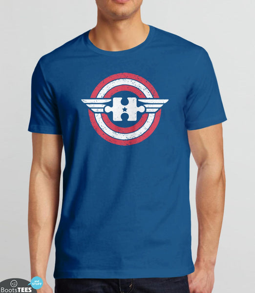 Captain Autism America | Superhero Autism T-Shirt for Awareness Month. Pictured: Royal Blue Mens Tee.