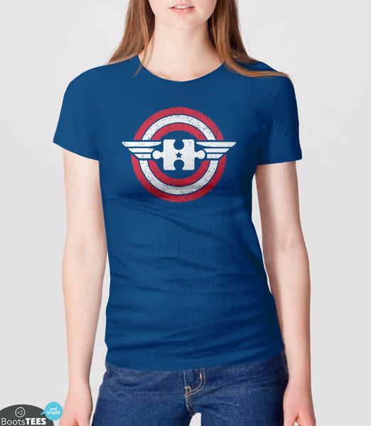 Captain Autism America | Superhero Autism T-Shirt for Awareness Month. Pictured: Blue Women's Tee.