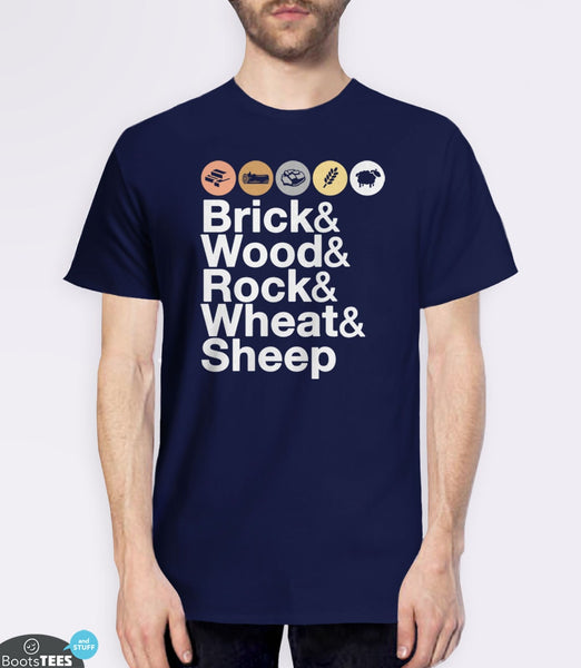 Helvetica Settlers of Catan T-Shirt | Board Game Geek Gift. Pictured: Navy Men's Tee