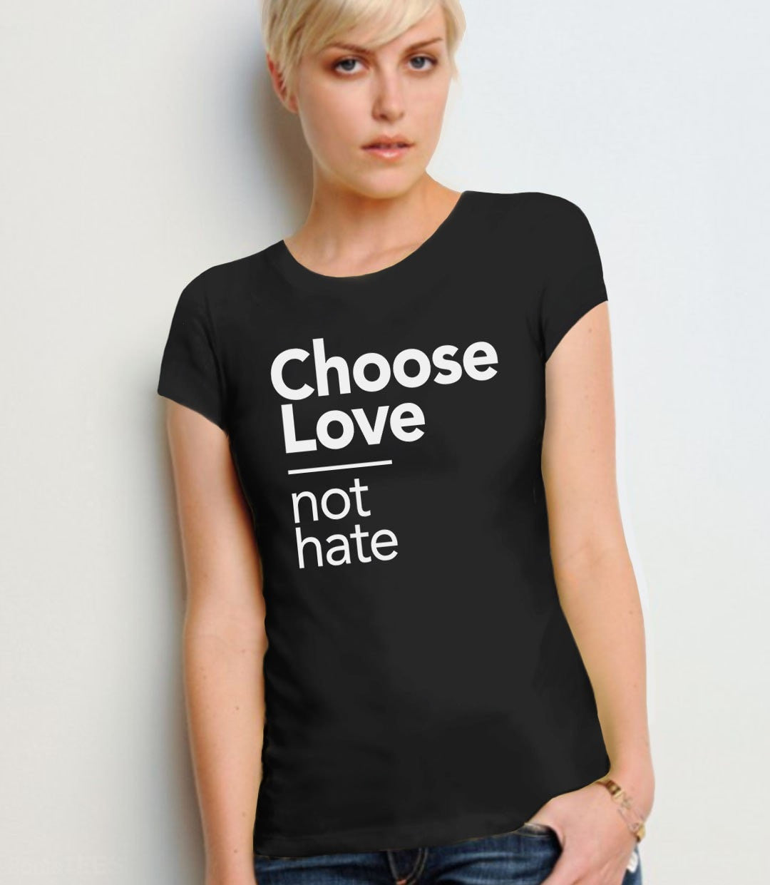 Choose Love Not Hate t-shirt - black womens tee