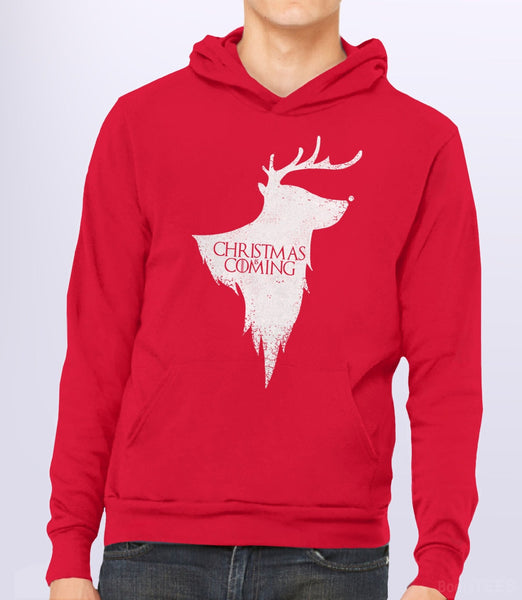 Christmas is Coming, Red Unisex Hoodie by BootsTees