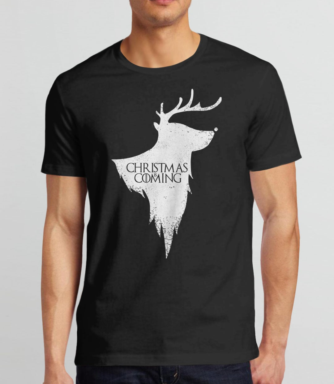 Christmas is Coming, Black Mens (Unisex) Tee by BootsTees