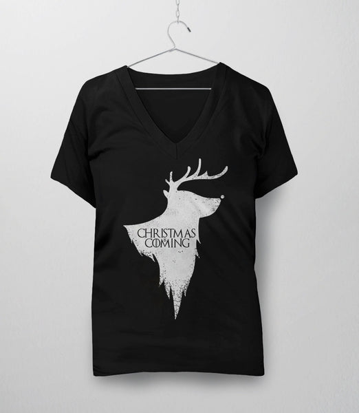 Christmas is Coming, Black Womens V-Neck by BootsTees