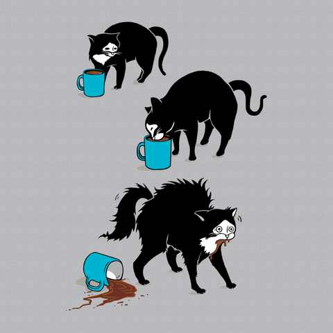 Funny Cat Humor T-Shirt with Cat drinking coffee. | Makes a great cat owner gift.