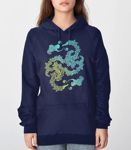 Dragons Blow, Navy Unisex Hoodie by BootsTees