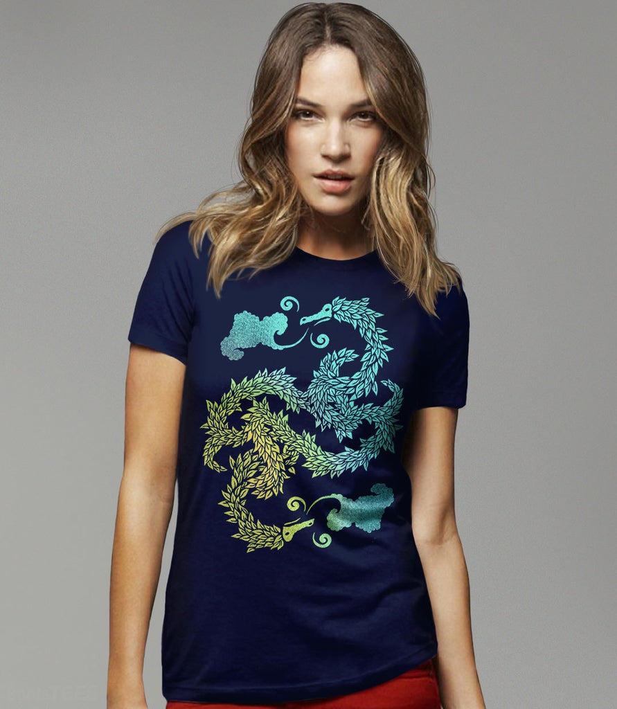 Yin Yang T-Shirt with Artistic Chinese Dragon Art | Asian art inspired artistic graphic tee for women, men, and kids. Pictured: Navy Womens Tee Shirt