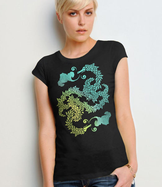 Dragons Blow, Black Womens Tee by BootsTees