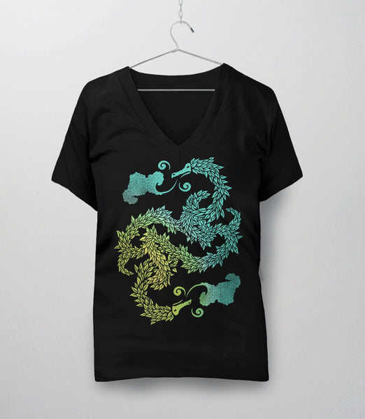 Dragons Blow, Black Womens V-Neck by BootsTees