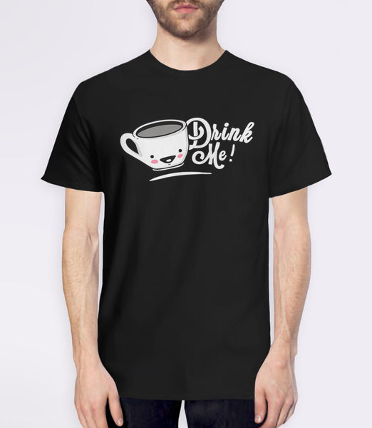 Drink Me: Cute Alice in Wonderland t-shirt - black mens tee