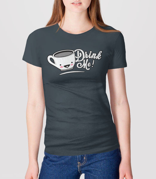 Drink Me: Cute Alice in Wonderland t-shirt - charcoal womens tee