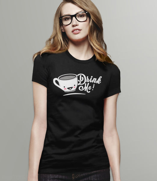 Drink Me: Cute Alice in Wonderland t-shirt - black womens tee